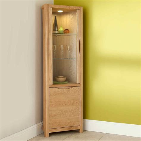 corner cabinet with glass doors furniture un polish wooden display cabinet with glass