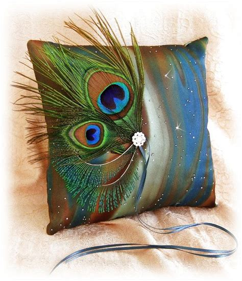 Peacock Wedding Pillow Teal Peacock Feathers Ring Bearer