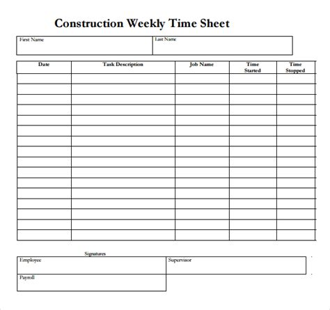 construction time sheet excel template 22 weekly timesheet templates free sle exle