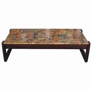 brutalist percival lafer modern copper patchwork coffee With patchwork coffee table