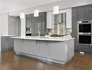 Stylish and cool gray kitchen cabinets for your home for Kitchen cabinet trends 2018 combined with large glass wall art