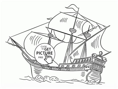 Spanish Galleon Coloring Page For Kids, Transportation