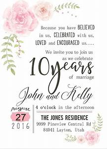 custom watercolor flower 10th year anniversary invitation With 10 year wedding anniversary party ideas