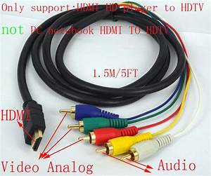 Hdmi To 5 Rca Male Audio Video Component Convert Cable For