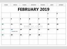 Februay 2019 Calendar With Canadian Holidays Free
