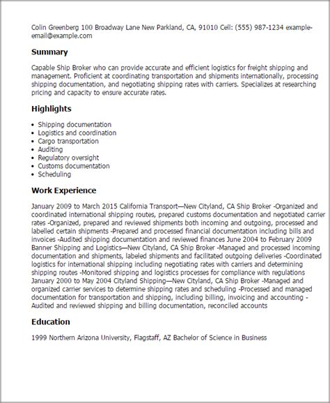 Ship Broker by 1 Ship Broker Resume Templates Try Them Now