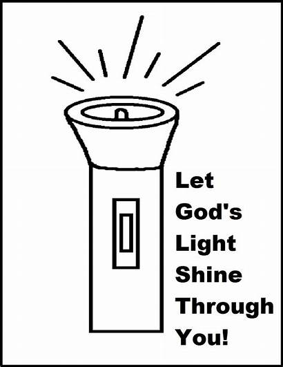 Coloring Shine Let Flashlight God Clipart Pages