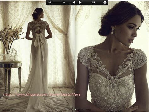 Cap Sleeves Wedding Dress With Drop Waist Lace Fitted On