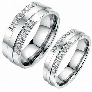 His And Hers Stainless Steel Crystal Coulple Ring Matching