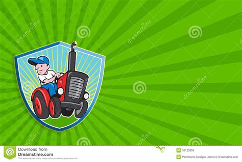 farmer driving vintage tractor cartoon stock illustration