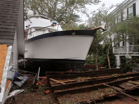 Boats Damaged By Hurricane Florence by Florence Causing Historic And Unprecedented Flooding At