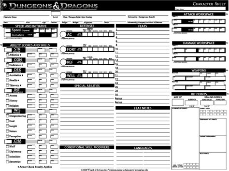 d d character sheet 4e custom dnd 4e character sheet by dieffenbachj on deviantart