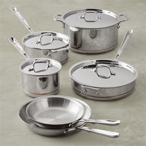 clad copper core cookware piece pans pots sets sonoma williams cooking pan customized pcs wholesale stainless china