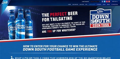 bud light tailgate sweepstakes bud light down south contest