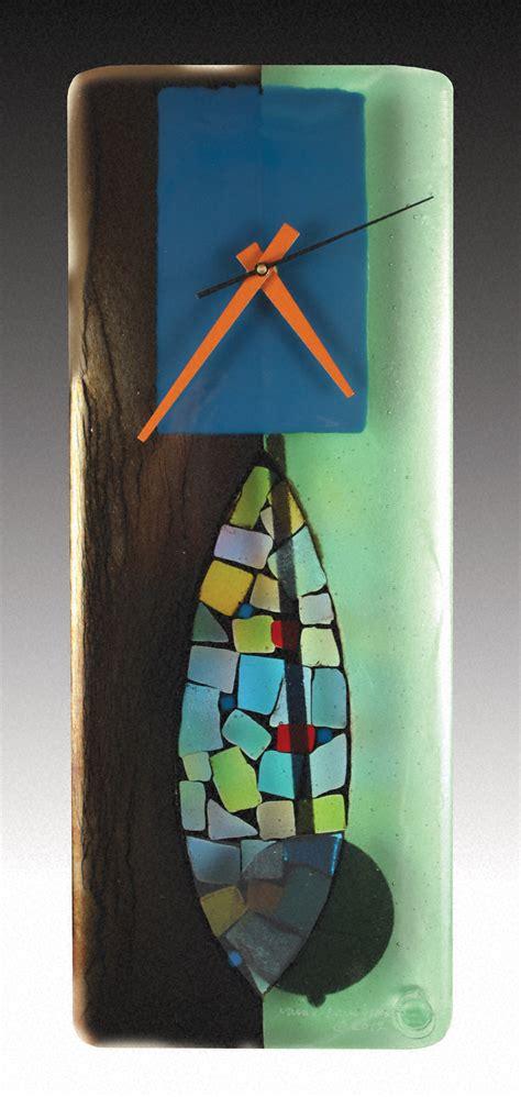 portal fused glass pendulum clock  nina cambron art