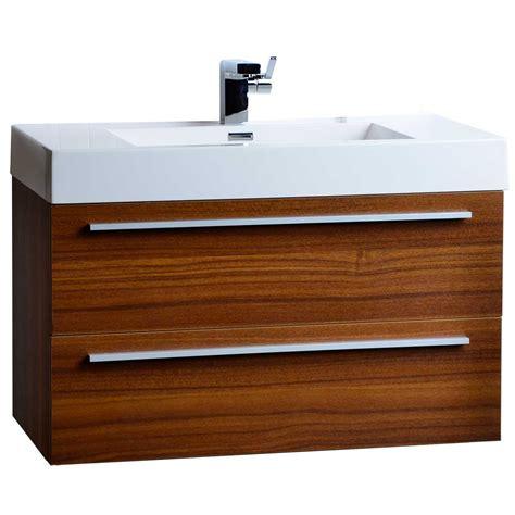 wall mount vanity 35 5 quot wall mount contemporary bathroom vanity teak tn m900