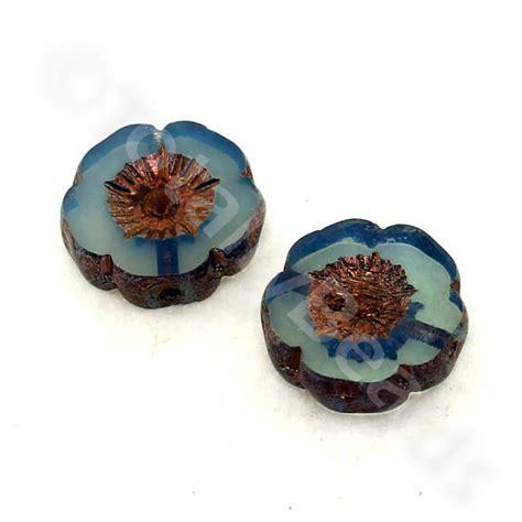 glass bead table l table cut glass bead milky blue flower 12mm