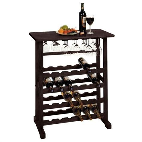 wine rack and glass holder in dark espresso 92023