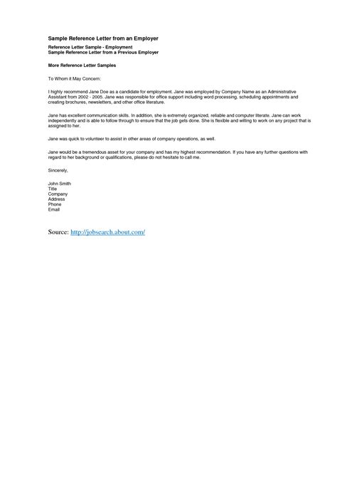 reference letter template  templatepersonal