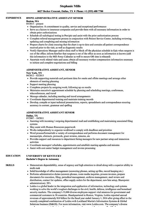 Senior Administrative Assistant Resume by Administrative Assistant Senior Resume Sles Velvet