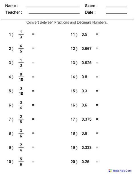 Converting Fractions To Decimals Worksheet Math Drills  Decimal Adding Decimals And Ranges On