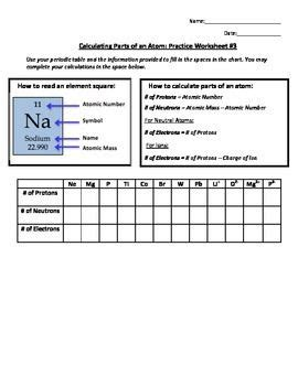 Calculating Parts Of An Atom Practice Worksheet #3  Worksheets, Chemistry And Atomic Number