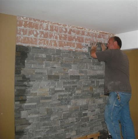Refacing A Fireplace With Stone Veneer what can i put over brick fireplace dark brown hairs
