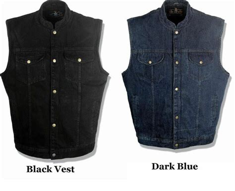 Soa Mens Black Or Blue Denim Biker Vest For Clubs W/ 1 Gun