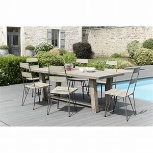 Table A Manger Jardin : salon de jardin n 305 comprenant 1 table manger rectangulaire et 3 lots de 2 chaises scandi ~ Melissatoandfro.com Idées de Décoration