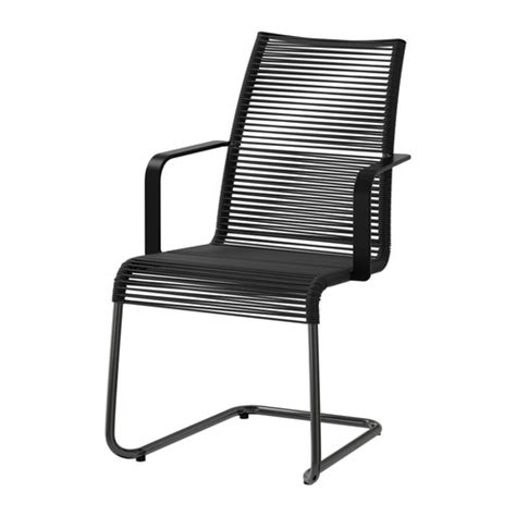 v 196 sman chair with armrests outdoor black ikea
