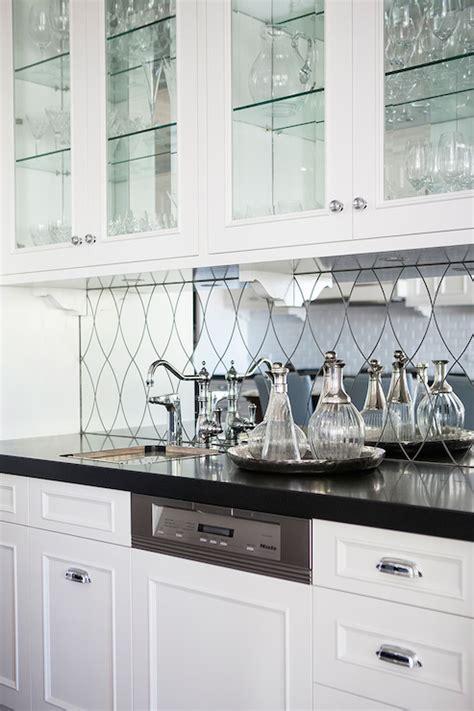 Mirrored Backsplash In Kitchen by Mirrored Bar Backsplash Transitional Kitchen