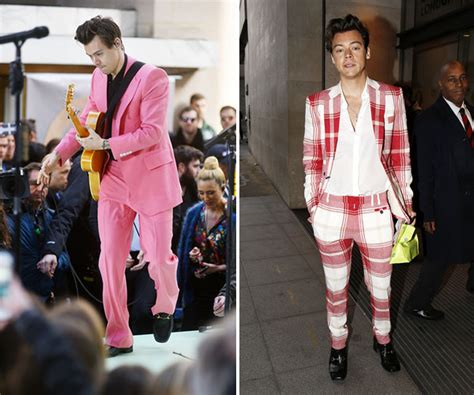 Harry Stylesu2019 Bold Suits See His Crazy New Style u2014 Pink u0026 Plaid Suit u2013 Hollywood Life