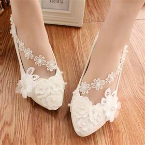 full sizes girls bridesmaid ivory white lace wedding flats With wedding dress flats