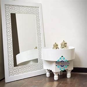 Miroir Oriental Blanc En Bois Sculpt TANGER Dco D39Ailleurs