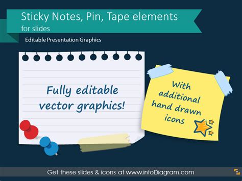 pictures sticky note pin tape elements