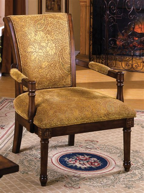 stockton antique oak accent chair  padded fabric seat
