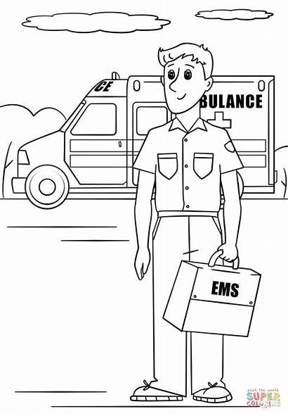 Paramedic Coloring Pages Ambulance Activities Printable Clip