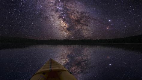 Wallpaper Landscape Boat Night Galaxy Reflection