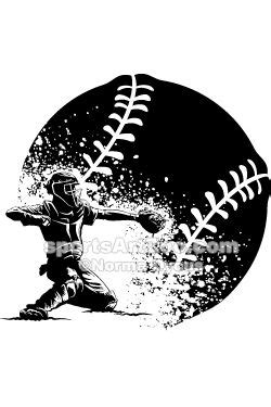 Baseball Catcher Silhouette with Grunge Ball