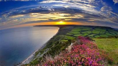 Multicolor Panorama Landscapes Fields Sun Nature Allwallpaper