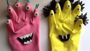 Mostri fai da te per Halloween riciclando guanti in gomma Idee riciclo creativo DIY handmade
