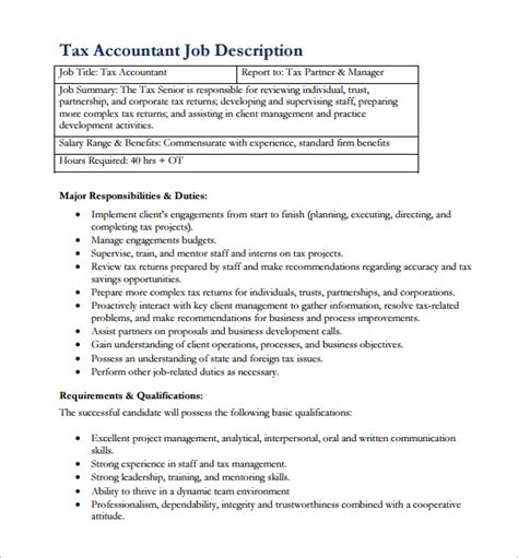 Tax Accountant Description Duties by 11 Accountant Description Templates Free Sle