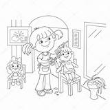 Coloring Kleurplaat Outline Barber Contour Salon Coiffure Fille Playing Meisje Jouer Kapper Scissors Pagina Avec Comb Coloritura Scissor Coloration Cartoon sketch template