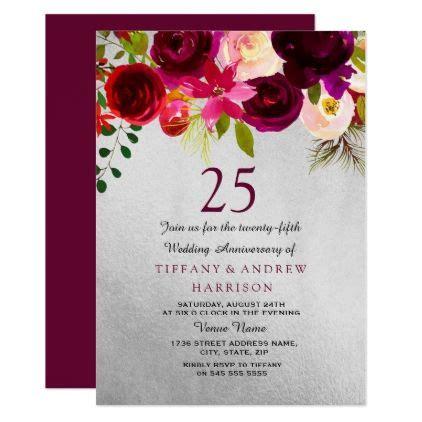 silver burgundy floral  wedding anniversary