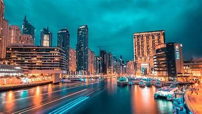 Night Port Lights Skyscrapers 4k Background Uhd