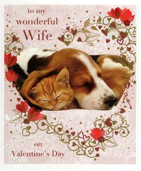 wonderful wife dog cat valentines greeting card cards