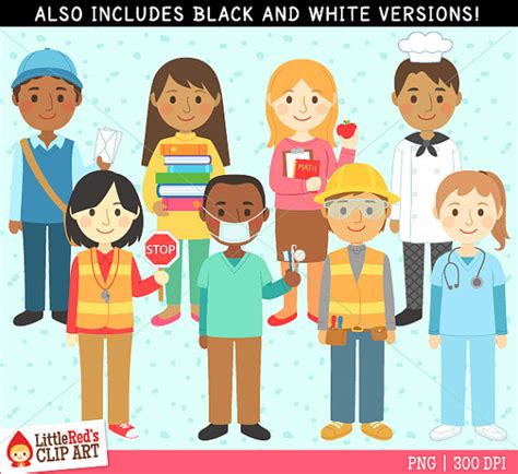 12202 different professions clipart community helpers clip and line set 1 personal