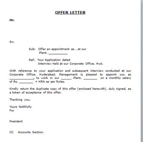 job offer letter templates sles word excel exles job offer letter format free download