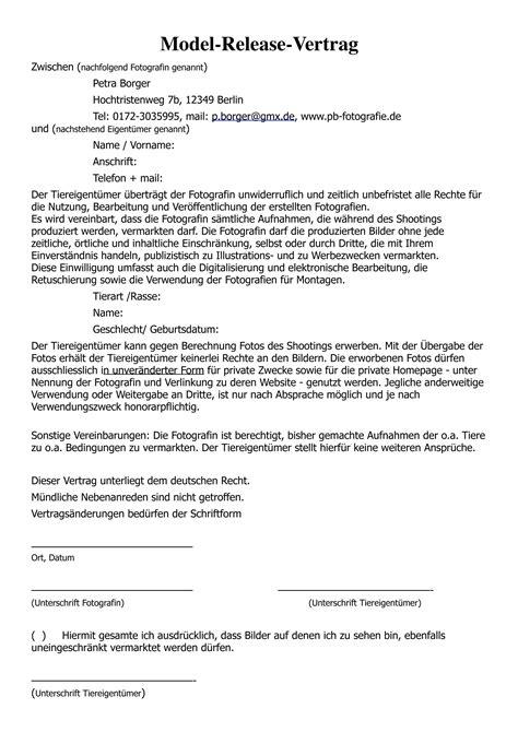 model release vertrag petra borger tierfotografie berlin