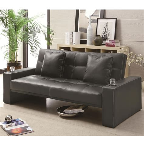 black leather sofa bed with cup holder casual black leather like sofa bed futon sleeper w accent